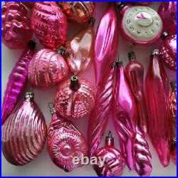 54 pink old vintage Xmas tree decoration Russian glass Christmas ornament USSR