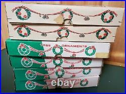 6 Vintage Box Teardrop Icicle Mercury Glass Christmas Ornaments Poland Blue 5'