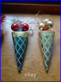 (6) Vintage Christmas Mercury Glass Balls Foil Cone Shaped Ornaments Japan