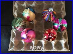6 Vtg Santa Land Teardrop Finial Ball Mercury Glass Poland Xmas Ornaments Box