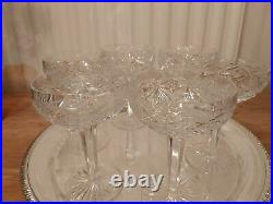 6 vintage, cut glass crystal champagne coupes Bohemian. Christmas New Year Party
