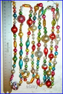 7 1/2 FEET 100% Vintage Mercury Glass Bead Christmas Garland BIG Beads! Antique