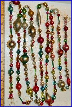 8 1/2 FT 100% Vintage Mercury Glass Christmas Garland Big Beads Antique