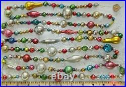 8 + FEET 100% Vintage Mercury Glass Bead Christmas Garland Big Beads! Antique