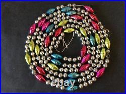 8 Ft Vtg Mercury Glass Fancy Barrel Bead Garland Feather Tree Christmas Japan