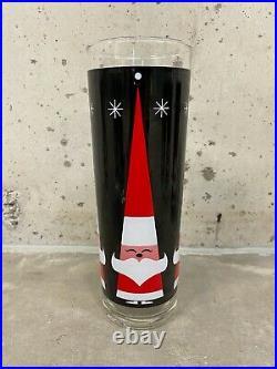 8 Vintage Santa Holt Howard Libby Glasses Tumblers Christmas Atomic MCM 2.5x7