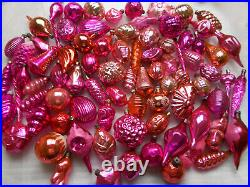82 Super Big Lot Vintage USSR Russian Glass Christmas Ornaments Red Decorations