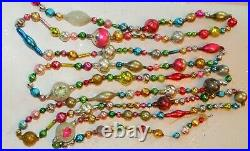 9+ FEET 100% Vintage Mercury Glass Bead Christmas Garland BIG Beads