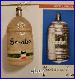 Antique 1920s German Blown Glass Double Sided WW I Bomb / Bombe Figural Ornament