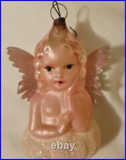 Antique 1930s German Glass Cherub Angel on Cloud Ornament Original Dresden Wings