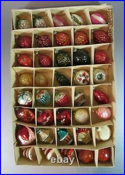 Antique 40 VTG Christmas Ornaments Mercury Glass Feather Germany Japan 30's 40's