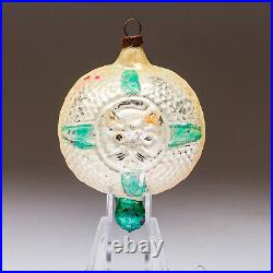 Antique Cat in a Window Double-Sided Blown Glass Ornament Germany Green E