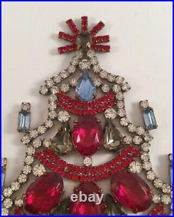 Antique Christmas Tree Decoration Czech Glass Crystal Rhinestones Vintage Xmas