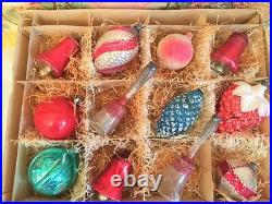 Antique Glass Feather Tree Old Vtg Xmas Ornaments Long Bells Pinecone Strawberry