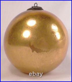 Antique Kugel Christmas Ornament Gold Ball Mercury Glass German 3.75in. #107