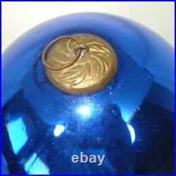 Antique Large Cobalt Blue German Glass Kugel Christmas Ornament