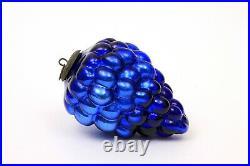 Antique Vintage Blue Cluster of Grapes Mercury Glass Kugel Germany Ornament