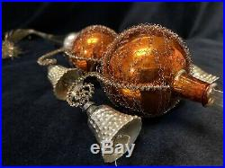 Antique / Vintage Christmas TREE TOPPER Mercury Blown Wire Wrapped Glass Germany