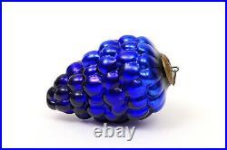 Antique Vintage Cobalt Blue Cluster of Grapes Mercury Glass Kugel Germany