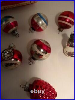 Antique/Vintage Mercury Glass Christmas Ornaments Shiny Brite Stripes withbox