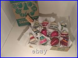 Antique/Vintage Shiny Brite UNSILVERED Mercury Glass Christmas Ornaments withbox&h