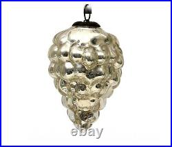 Antique Vintage Silver Cluster of Grapes Mercury Glass Kugel Christmas Germany