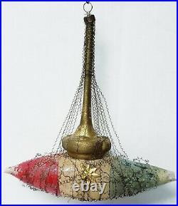 Antique Vtg Victorian PATRIOTIC SHIP Wire Wrapped Mercury Glass Dresden Ornament