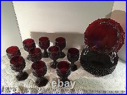 Avon 1876 Cape Cod Ruby Red Glass Goblets & Dessert Plates Vintage Christmas