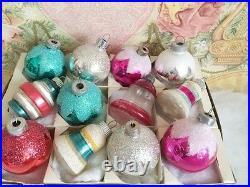 Beautiful Antique Vtg Shiny Brite Feather Tree Xmas Ornaments Bells Barrel Mica