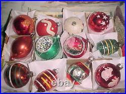 Beautiful Vtg Antique Diorama Indent Barrel Shapes Stencils Glass Xmas Ornaments
