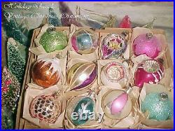 Beautiful Vtg Poland Indent Pointed Tips Sparkly Glitter Glass Xmas Ornaments