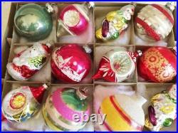Beautiful Vtg Shiny BrIte Indents Mica & Glitter Flocked Glass Xmas Ornaments