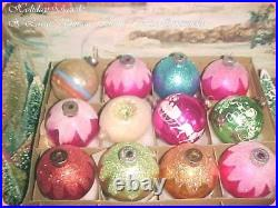 Beautiful Vtg X-Large Antique Shiny Brite & USA Pink Mica Indent Xmas Ornaments