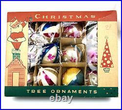 Box 12 Vtg. Fantasia Mica Glass Mercury Christmas Tree Ornaments POLAND 1950's