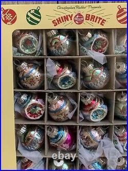 Box/20 RADKO Shiny Brite Radiant VTG Retro Mini Glass Indent Christmas Ornaments
