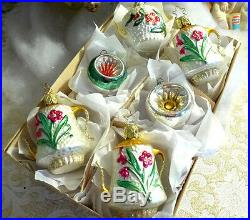 Box 6 BEST Embossed vtg Germany Teapot Coffee Glass Feather Xmas Ornament Japan