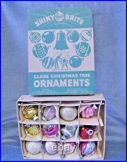 Box Shiny Brite VINTAGE CHRISTMAS Antique Spun Mercury Art Glass X-Mas Ornaments