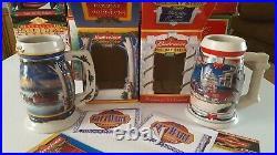 Budweiser Christmas Holiday Steins Lot Vintage Old 1996-2005 set of 10 Box COA