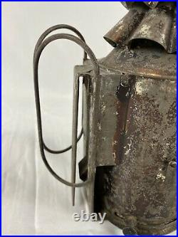 C. 1890 Antique Tin Christmas Tree Police Lantern Lamp Light, Bullseye Glass