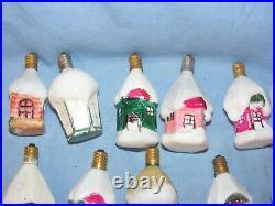 Christmas Figural Light Bulbs Lanterns Vintage Milk Glass Decoration Working
