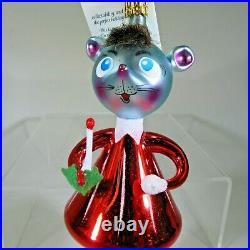 Christopher RADKO vintage 1994 NIGHTY NIGHT mouse Italian glass ornament 94-299