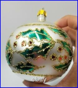 Christopher Radko Christmas Holly Glass Ball Ornament Vintage 1990 Retired