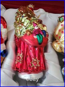 Christopher Radko vintage 4 SANTAs Christmas Ornaments glass in gift box