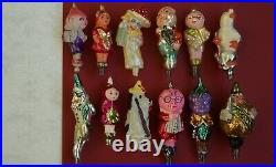 Cipollino vintage USSR glass Christmas tree toys decor. Lot of 12 pieces