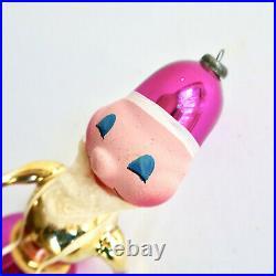 De Carlini Lg Bearded Elf Pixie Christmas Ornament 7 Blown Glass Italy Vintage