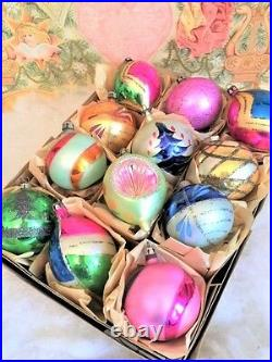 Fancy & Glitzy Vintage Poland Antique Glass Xmas Ornaments Hand blown Tips