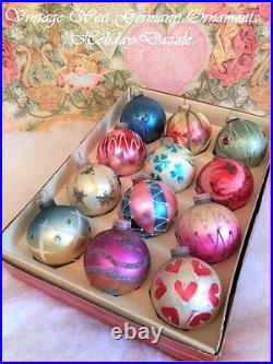 Fancy & Glitzy Vtg sHaBbY Antique W. Germany Glass Xmas Ornaments Glitter & Mica