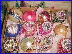 Fancy & Glitzy cHiC Vtg Antique shabby Pink Poland Indents Glass Xmas Ornaments