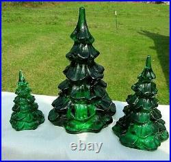 Fenton Glass Holiday Green Christmas Tree Vintage Set of 6.5H-4.25H-3H MIB