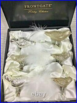 Frontgate Glass Bird Ornament Set Vintage Style Clip On with Tail Feathers